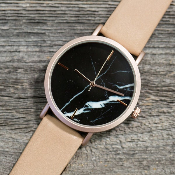 BLACK MARBLE WATCH WITH BEIGE LEATHER BAND