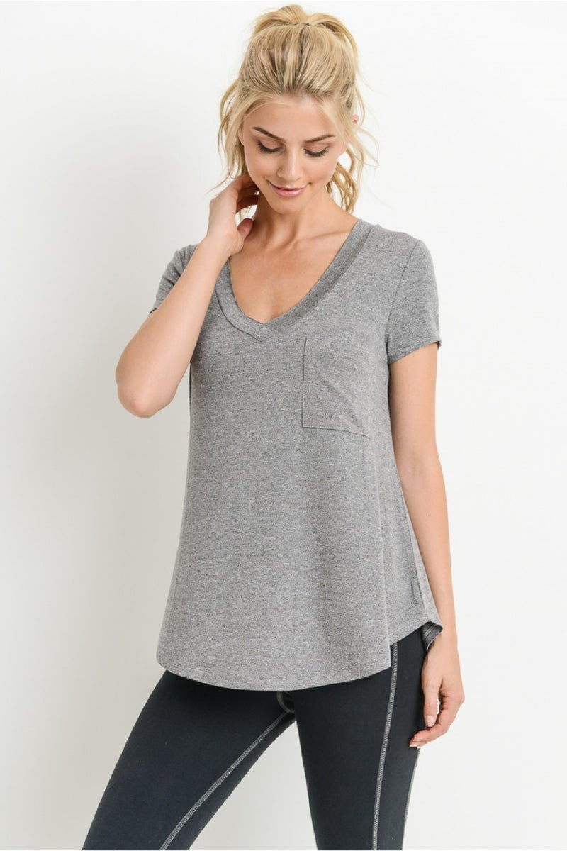 MONO B Longline Deep V-Neck Pocket Shirt