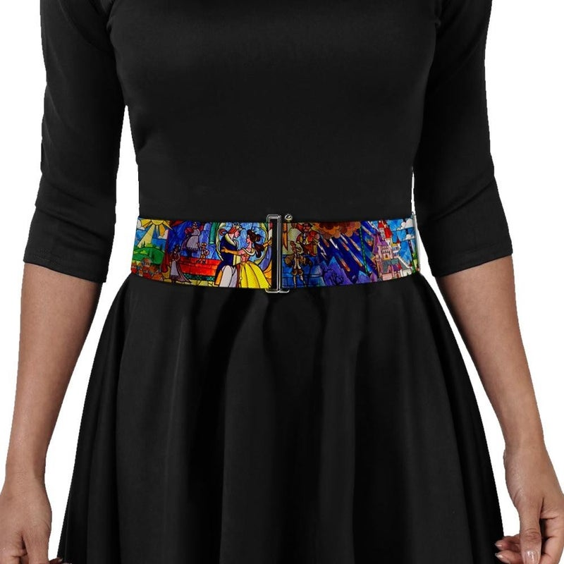 BUCKLE DOWN BEAUTY & THE BEAST STAINED GLASS SCENES CINCH WAIST BELT