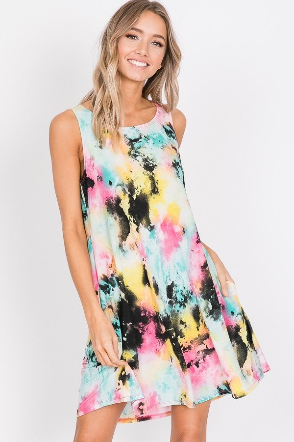 SLEEVELESS ROUND NECK MULTI COLOR TIE DYE PRINT DRESS WITH SIDE POCKET