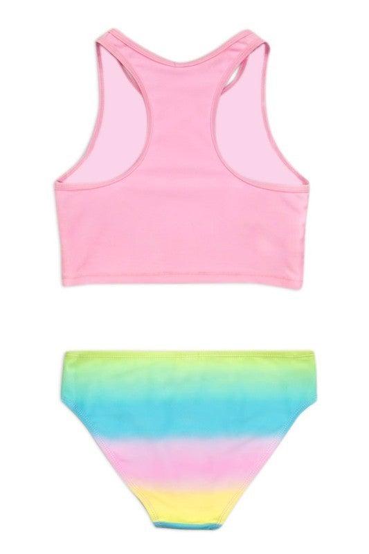 Girl's Two Piece Tankini Swimwear w/ Ruffle Flower Crown/ Foil Unicorn Print