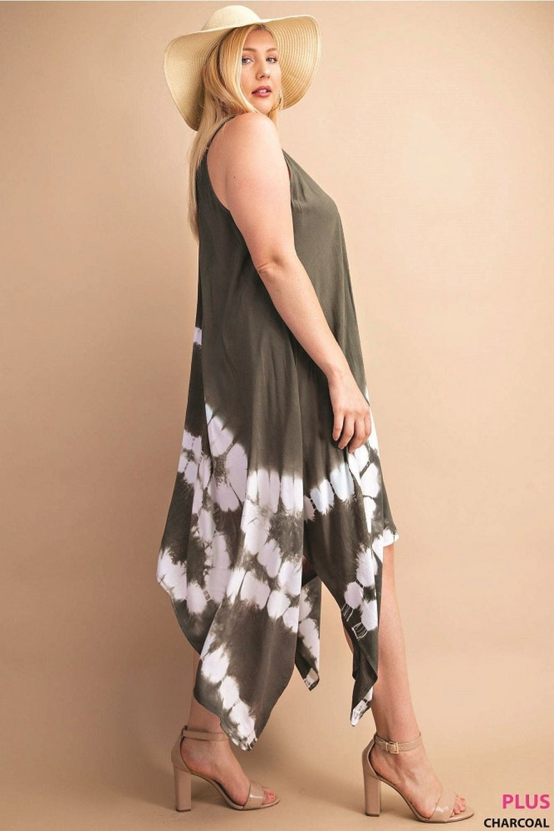 SHELL SHAPE TIE DYE SHARK BITE DRESS