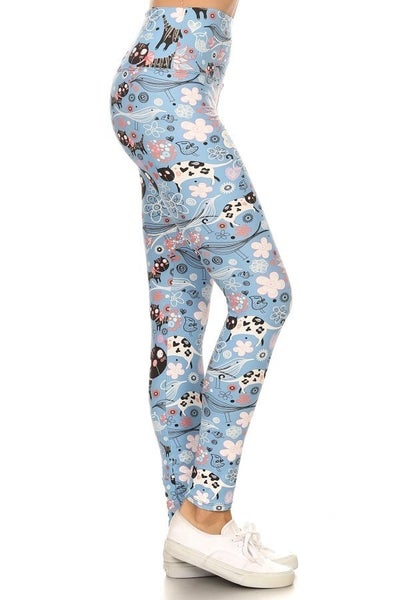 CAT & FLORAL LEGGINGS