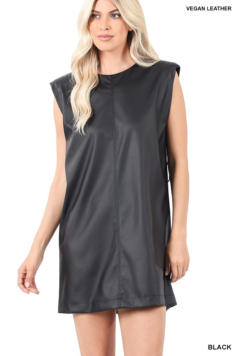 ZENANA VEGAN LEATHER SLEEVELESS SHOULDER PADS DRESS