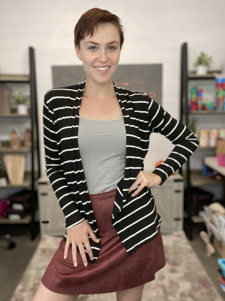 STRIPED CARDIGAN W/ ELBOW PATCHES