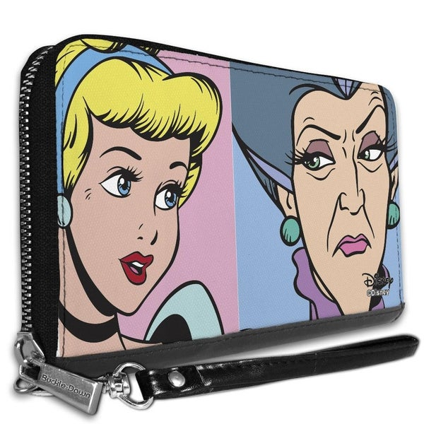 BUCKLE DOWN ZIP AROUND WALLET - CINDERELLA AND WICKED STEP MOTHER LADY TREMAINE FACE BLOCKS