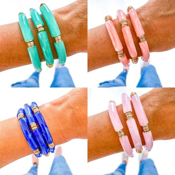 Acrylic Marble Bamboo Bracelets