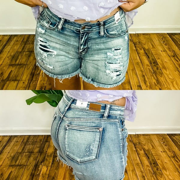 Judy Blue Mid Rise Wash Out Shorts *Final Sale*
