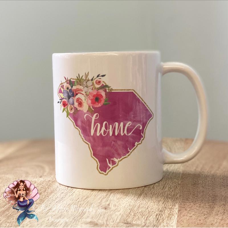 """Floral SC """"Home"""" Mug"""
