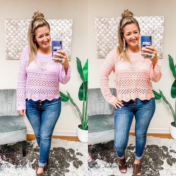 Round Neck Crochet Sweater