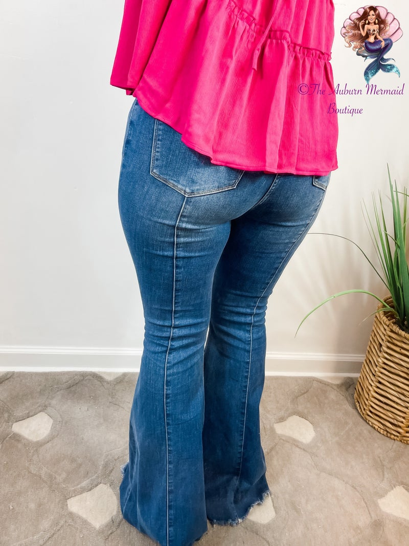 High Rise Front and back Mid-seam Flare