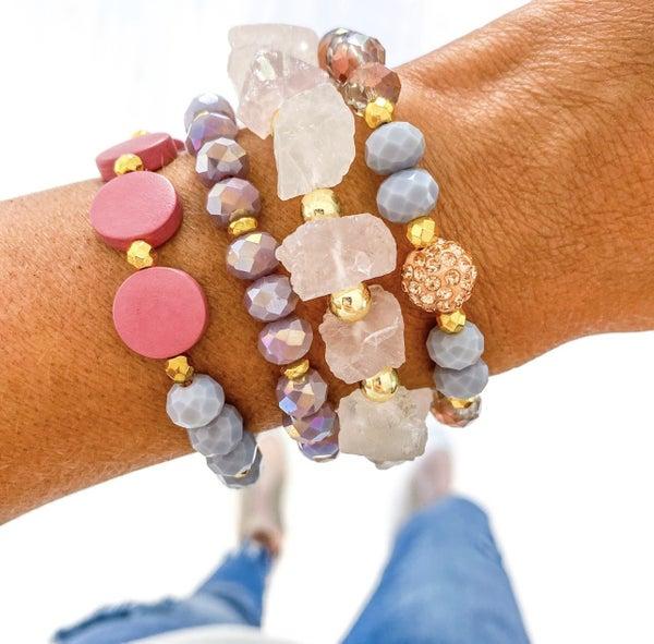 Pink Quartz Bracelet Set