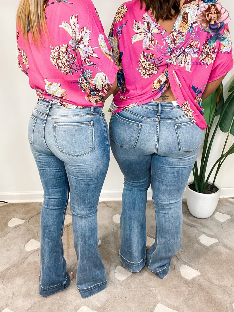 Judy Blue Mid Rise Trouser Flare Jeans *Final Sale*
