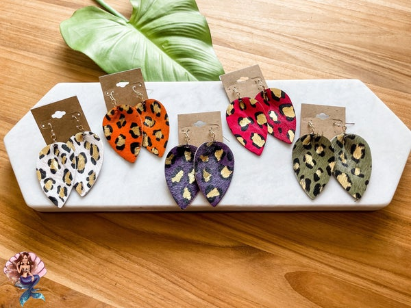 Fall Leopard Teardrop Earrings