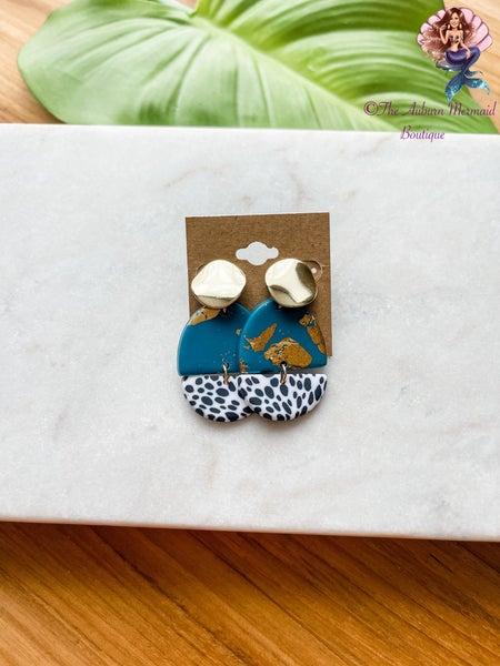 Cheetah Turquoise & Gold Earrings