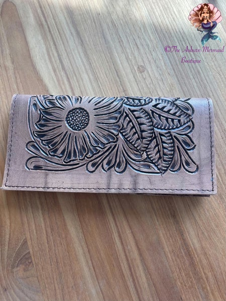 Sunflower Tooled Leather Wallet