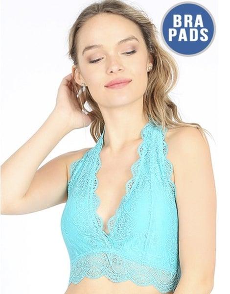 Blue Mint Lace Halter Bralette