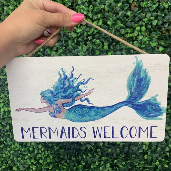 Mermaid Welcome Hanging Sign