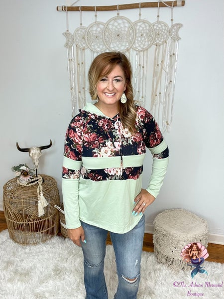 Floral and Mint Color Block Hoodie