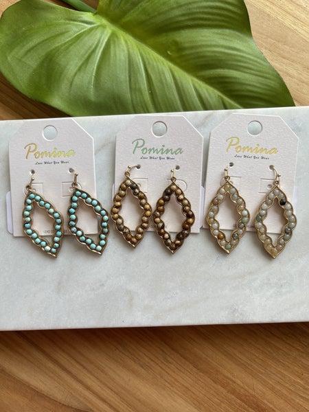 Quatrefoil Stone Earrings