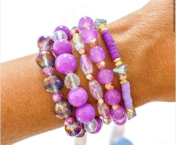 Kaleidoscope Purple Bracelet Stack