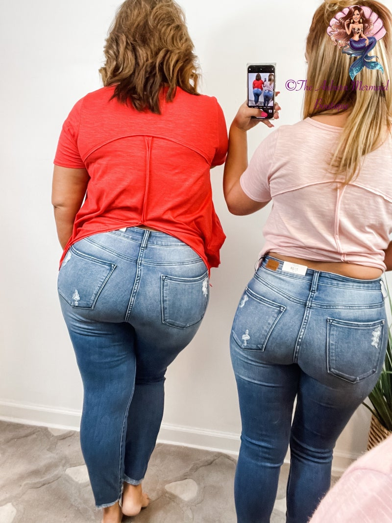 Medium Wash Distressed Judy Blue Skinny Jeans *Final Sale*