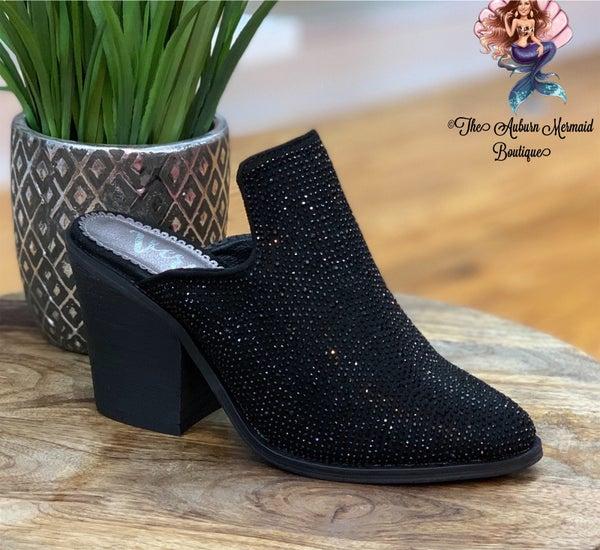 Black Fancy Studded Mules