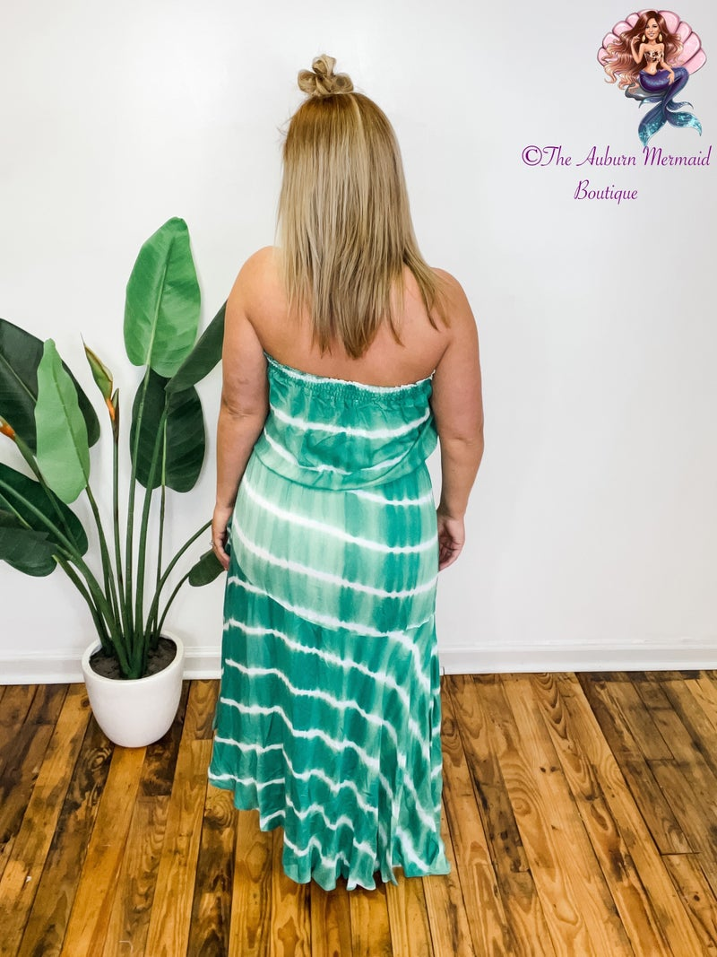 Green Tie Dye Smocked Dress *Final Sale*