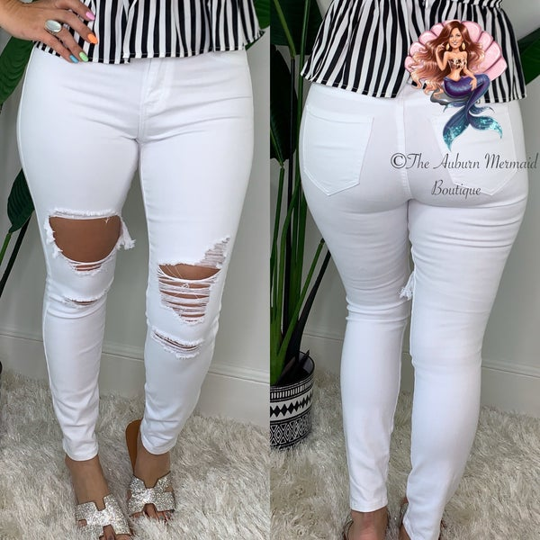 White High Rise Distressed Super Skinny Jeans