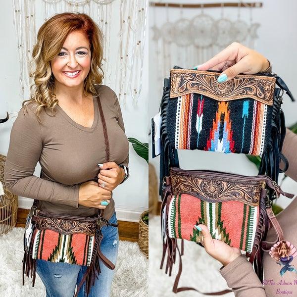 Leather Fringe Serape Crossbody Bags