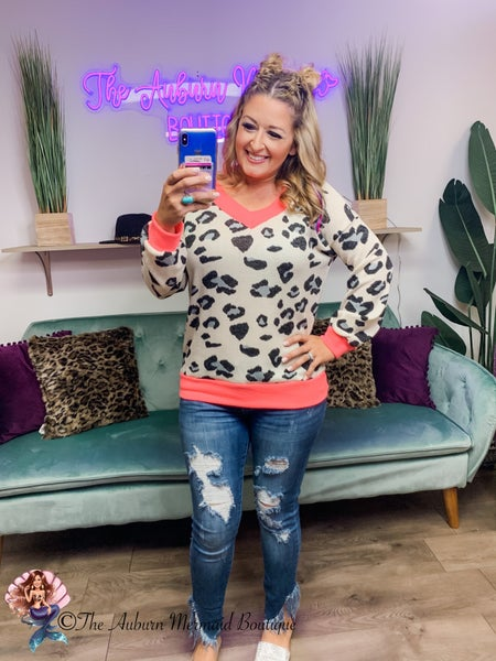 Ivory and Neon Pink leopard print top