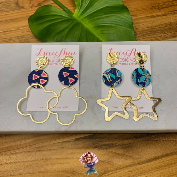 Medium Navy Lucie Ann Earrings