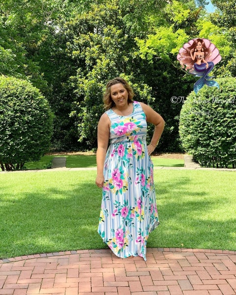 Ivory Striped Floral Maxi