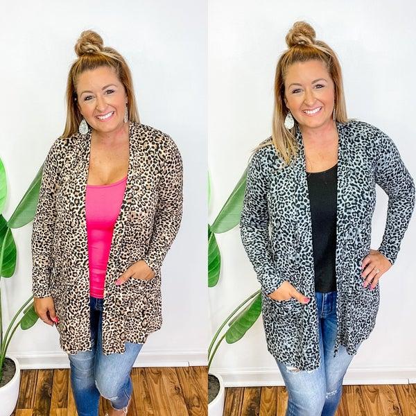 Long Sleeve Leopard Pocket Cardigan