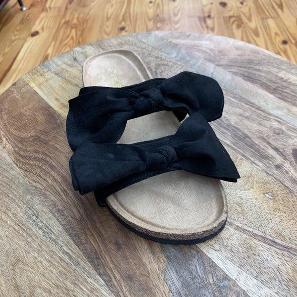 Black Bow Birk Sandals