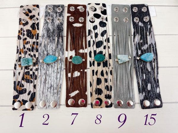 Custom Leather Druzy Bracelets