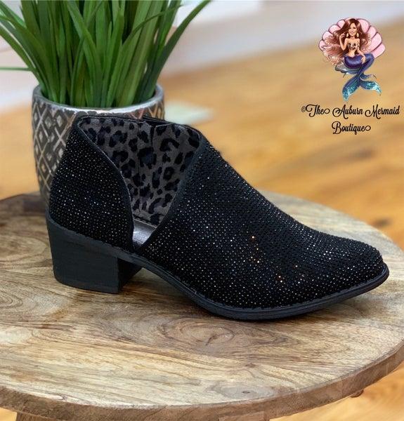 Black Studded Slip on Booties
