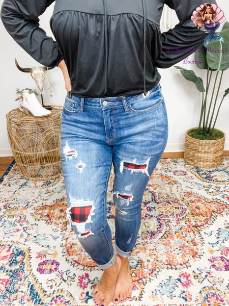 Judy Blue Mid-Rise Plaid Patch Skinny Jeans