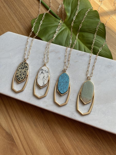 Long Gold Necklace Oval Stone