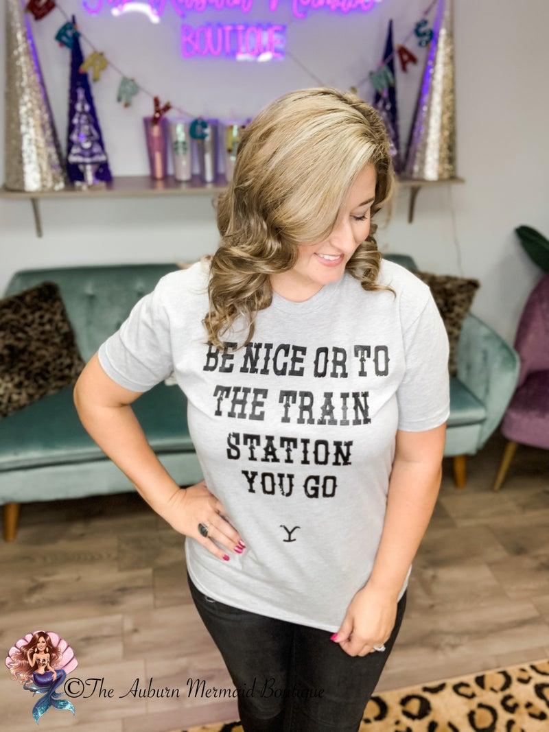 Grey Train Station Yellowstone Tee *Final Sale*