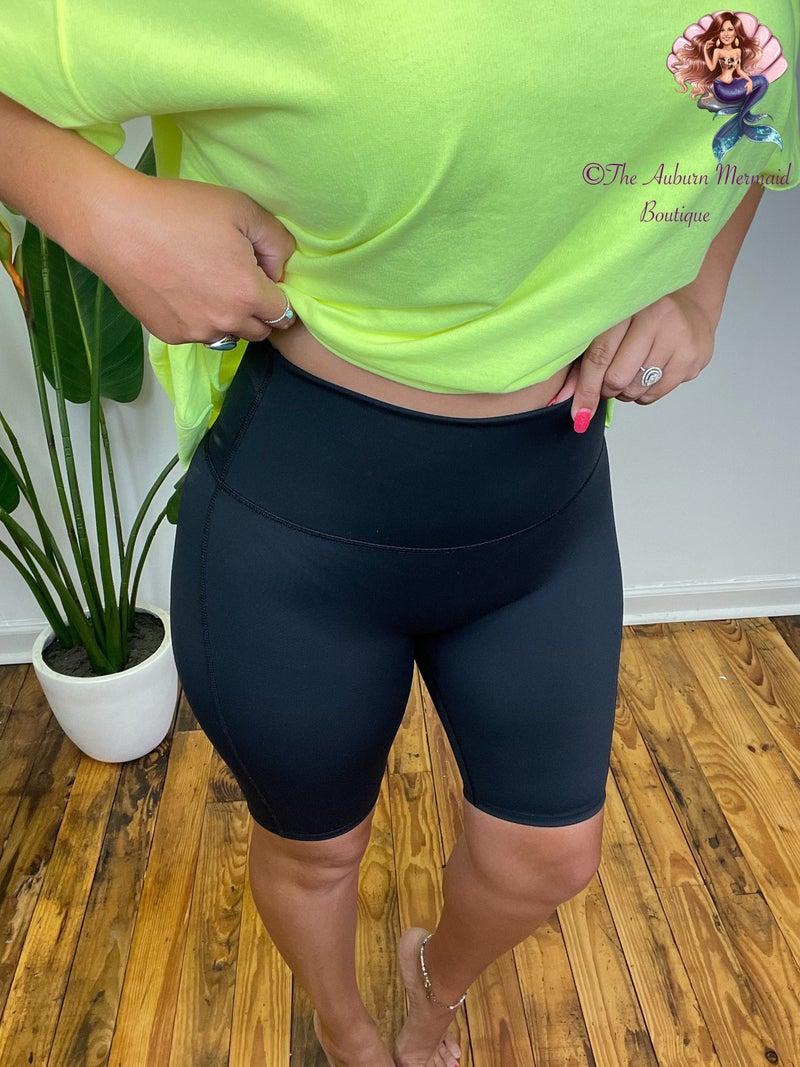 Black Yoga Waist Biker Shorts