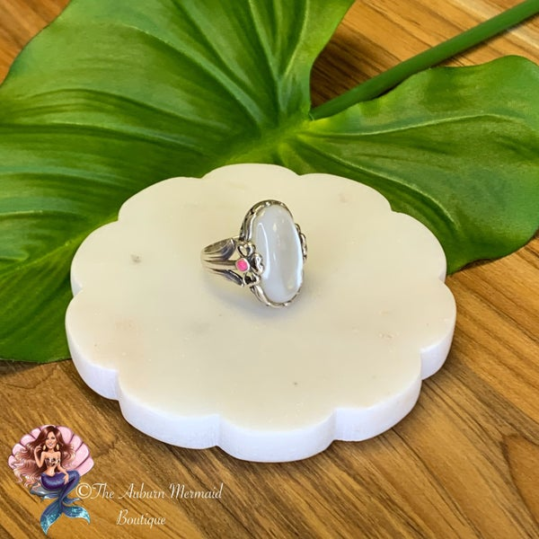 Sterling Silver Oval Mother of Pearl Statement Ring