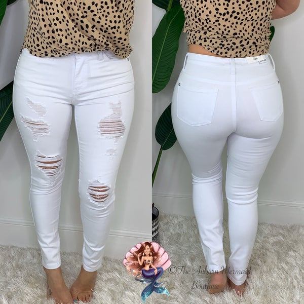 White Distressed Judy Blue Jeans *Final Sale*
