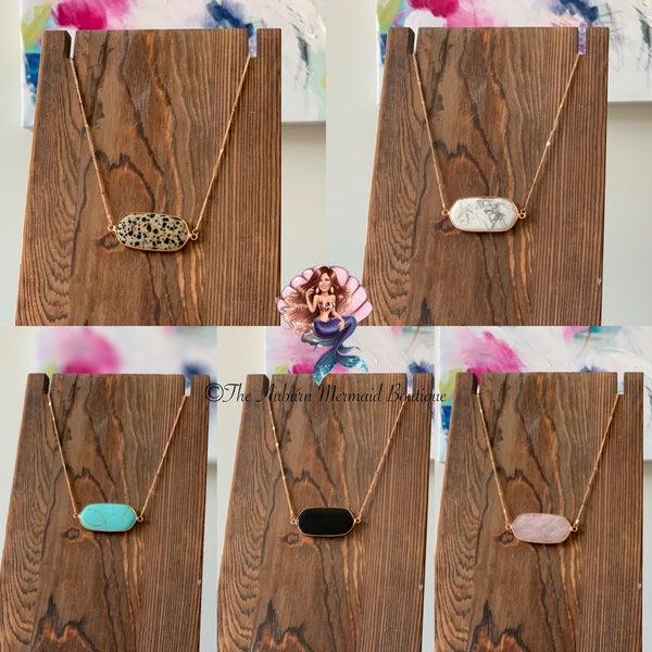Stone Hexagon Necklaces