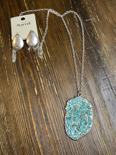 Long Silver Turquoise Necklace