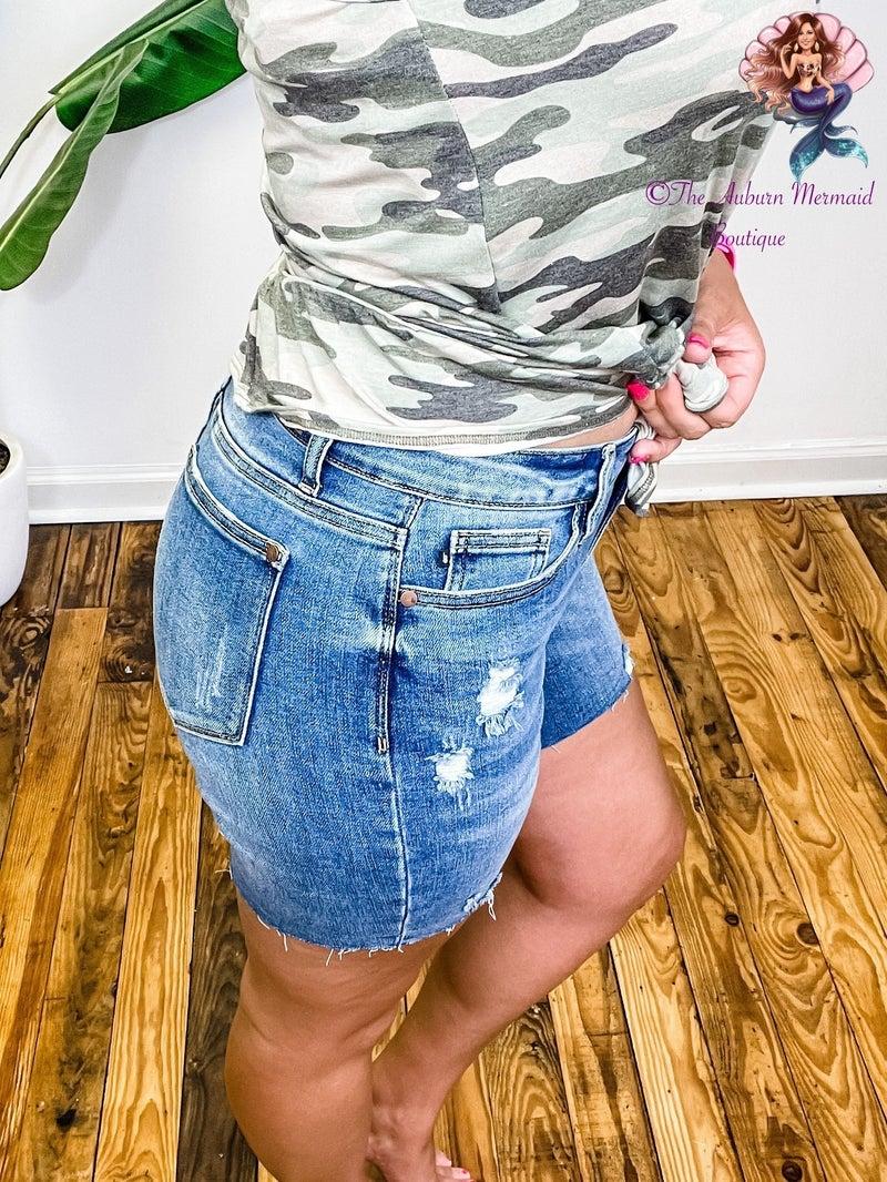 High Waist Mid Thigh Judy Blue Shorts *Final Sale*