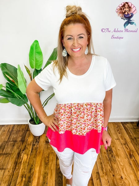 Pink And White Floral Color Block Top *Final Sale*