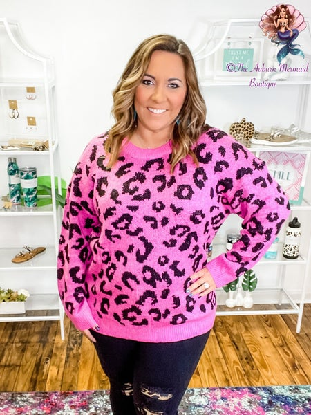 Fuschia Leopard Round Neck Sweater