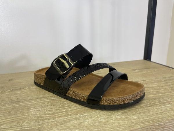 Black Glitter Sandals