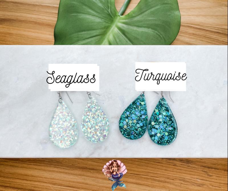 Blue Glitter Earrings
